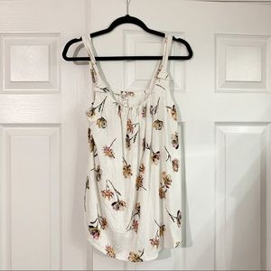 Maurices White Floral Scoop Neck Tank Size M NWT